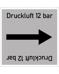 Rohrleitungskennzeichnung viereckig Druckluft 12 bar | Aufkleber · Magnetschild · Aluminiumschild