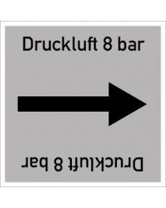 Rohrleitungskennzeichnung viereckig Druckluft 8 bar | Aufkleber · Magnetschild · Aluminiumschild