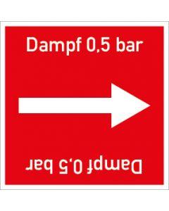 Rohrleitungskennzeichnung viereckig Dampf 0,5 bar | Aufkleber · Magnetschild · Aluminiumschild