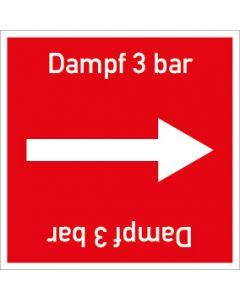 Rohrleitungskennzeichnung viereckig Dampf 3 bar | Aufkleber · Magnetschild · Aluminiumschild