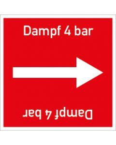 Rohrleitungskennzeichnung viereckig Dampf 4 bar | Aufkleber · Magnetschild · Aluminiumschild