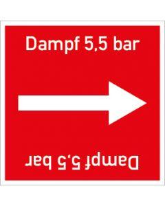 Rohrleitungskennzeichnung viereckig Dampf 5,5 bar | Aufkleber · Magnetschild · Aluminiumschild
