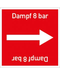 Rohrleitungskennzeichnung viereckig Dampf 8 bar | Aufkleber · Magnetschild · Aluminiumschild