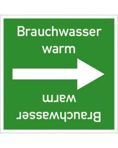 Rohrleitungskennzeichnung viereckig Brauchwasser warm | Aufkleber · Magnetschild · Aluminiumschild