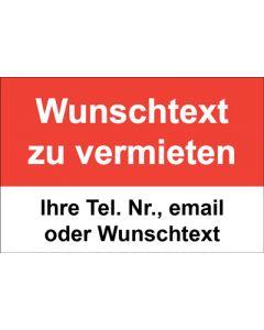 Immobilienschild Wunschtext zu vermieten · Aufkleber | Schild | Plane