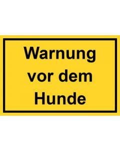 Schild   Aufkleber   Magentschild · Warnung vor dem Hunde gelb
