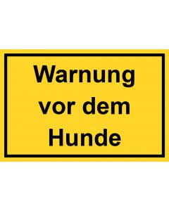 Schild | Aufkleber | Magentschild · Warnung vor dem Hunde | gelb