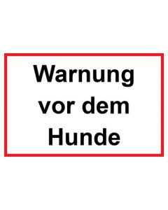 Schild   Aufkleber   Magentschild · Warnung vor dem Hunde rot