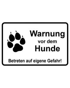 Schild   Aufkleber   Magentschild · Warnung vor dem Hunde Betreten auf eigene Gefahr weiß
