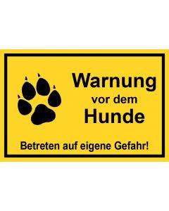 Schild | Aufkleber | Magentschild · Warnung vor dem Hunde Betreten auf eigene Gefahr | gelb