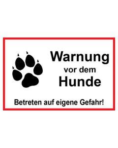 Schild   Aufkleber   Magentschild · Warnung vor dem Hunde Betreten auf eigene Gefahr rot