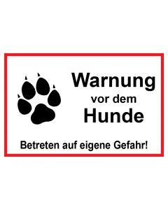 Schild | Aufkleber | Magentschild · Warnung vor dem Hunde Betreten auf eigene Gefahr | weiß · rot