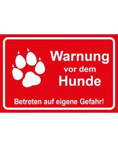 Schild | Aufkleber | Magentschild · Warnung vor dem Hunde Betreten auf eigene Gefahr | rot