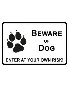 Schild   Aufkleber   Magentschild · Beware of Dog · Enter of your own risk   weiß