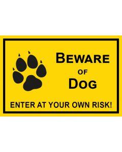 Schild   Aufkleber   Magentschild · Beware of Dog · Enter of your own risk   gelb