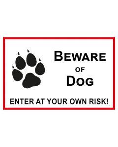 Schild   Aufkleber   Magentschild · Beware of Dog · Enter of your own risk   weiß   rot