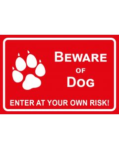 Schild   Aufkleber   Magentschild · Beware of Dog · Enter of your own risk   rot