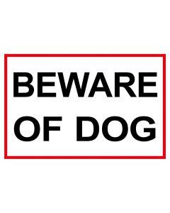 Schild   Aufkleber   Magentschild · Beware of Dog   weiß   rot