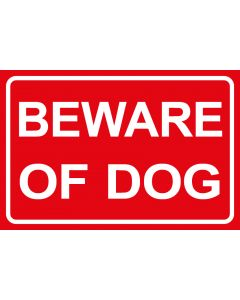 Schild   Aufkleber   Magentschild · Beware of Dog   rot