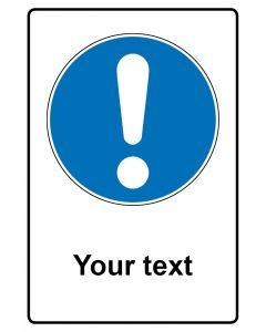 Gebotszeichen mit Text · Aufkleber | Schild | Magnetschild · Your text