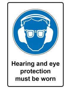 Gebotszeichen mit Text · Aufkleber | Schild | Magnetschild · Hearing and eye protection must be worn