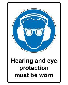 Gebotszeichen mit Text · Aufkleber | Schild | Magnetschild · Hearing and eye protection must be worn