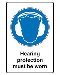 Gebotszeichen mit Text · Aufkleber | Schild | Magnetschild · Hearing protection must be worn