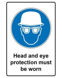 Gebotszeichen mit Text · Aufkleber | Schild | Magnetschild · Head and eye protection must be worn