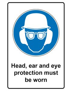 Gebotszeichen mit Text · Aufkleber | Schild | Magnetschild · Head ear and eye protection must be worn