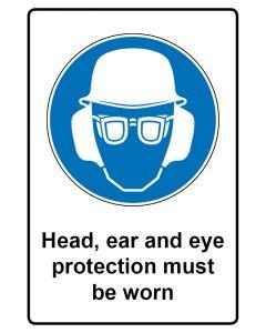 Gebotszeichen mit Text · Aufkleber | Schild | Magnetschild · Head ear and eye protection must be worn