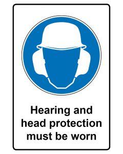 Gebotszeichen mit Text · Aufkleber | Schild | Magnetschild · Hearing and head protection must be worn