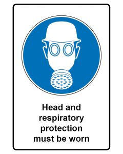 Gebotszeichen mit Text · Aufkleber | Schild | Magnetschild · Head and respiratory protection must be worn