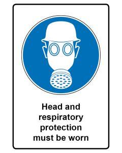 Gebotszeichen mit Text · Aufkleber | Schild | Magnetschild · Head and respiratory protection must be worn