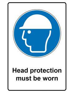 Gebotszeichen mit Text · Aufkleber | Schild | Magnetschild · Head protection must be worn