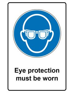 Gebotszeichen mit Text · Aufkleber | Schild | Magnetschild · Eye protection must be worn