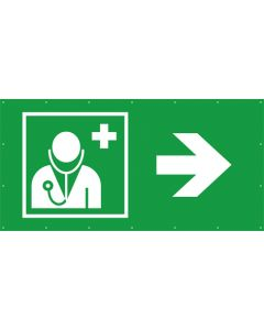Rettungszeichen PVC Plane Arzt, Ärztliche Hilfe rechts