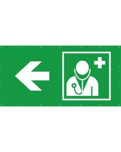 Rettungszeichen PVC Plane Arzt, Ärztliche Hilfe links