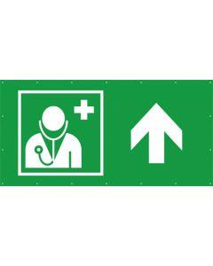 Rettungszeichen PVC Plane Arzt, Ärztliche Hilfe geradeaus