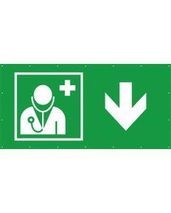 Rettungszeichen PVC Plane Arzt, Ärztliche Hilfe hier - zurück