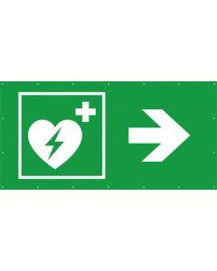 Rettungszeichen PVC Plane Defibrillator rechts