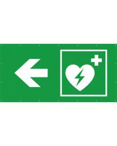 Rettungszeichen PVC Plane Defibrillator links
