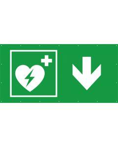 Rettungszeichen PVC Plane Defibrillator hier - zurück