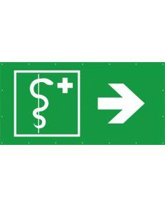 Rettungszeichen PVC Plane ärztliche Hilfe, Arzt rechts