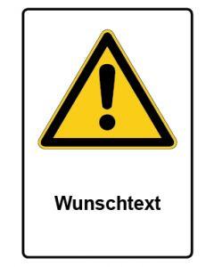 Warnzeichen mit Text · Aufkleber | Schild | Magnetschild · Allgemeines Warnzeichen · Wunschtext