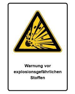 Warnzeichen mit Text · Aufkleber | Schild | Magnetschild · Warnung vor explosionsgefährlichen Stoffen