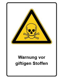 Warnzeichen mit Text · Aufkleber | Schild | Magnetschild · Warnung vor giftigen Stoffen