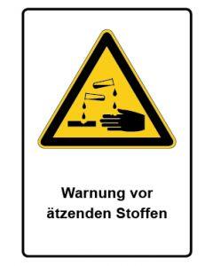 Warnzeichen mit Text · Aufkleber | Schild | Magnetschild · Warnung vor ätzenden Stoffen