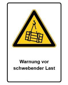 Warnzeichen mit Text · Aufkleber | Schild | Magnetschild · Warnung vor schwebender Last