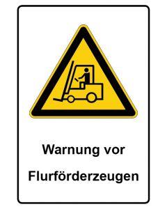 Warnzeichen mit Text · Aufkleber | Schild | Magnetschild · Warnung vor Flurförderzeugen