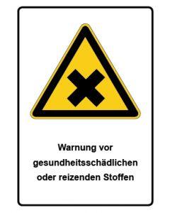 Warnzeichen mit Text · Aufkleber | Schild | Magnetschild · Warnung vor gesundheitsschädlichen oder reizenden Stoffen